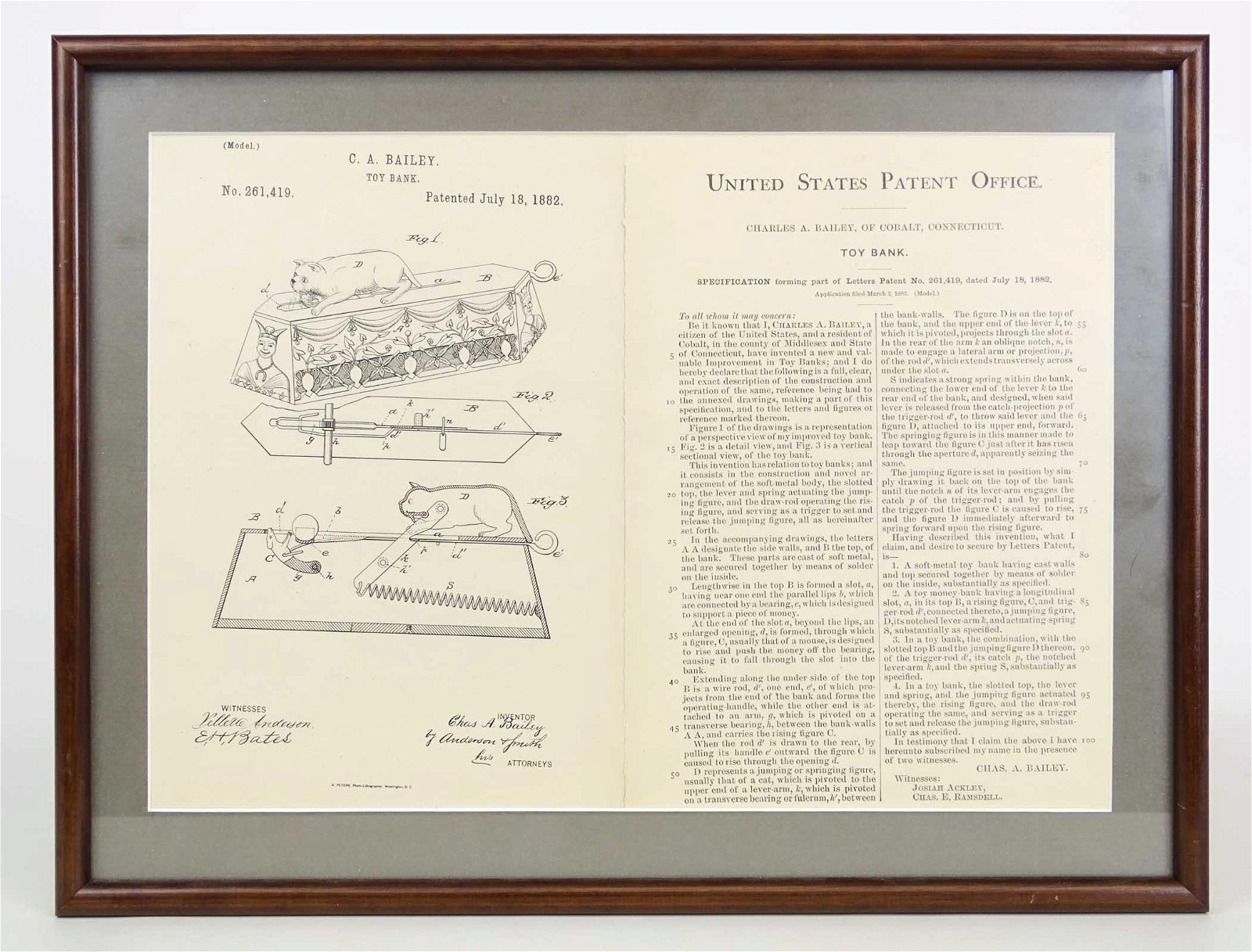 U. S. Patent Paper For Mechanical Bank