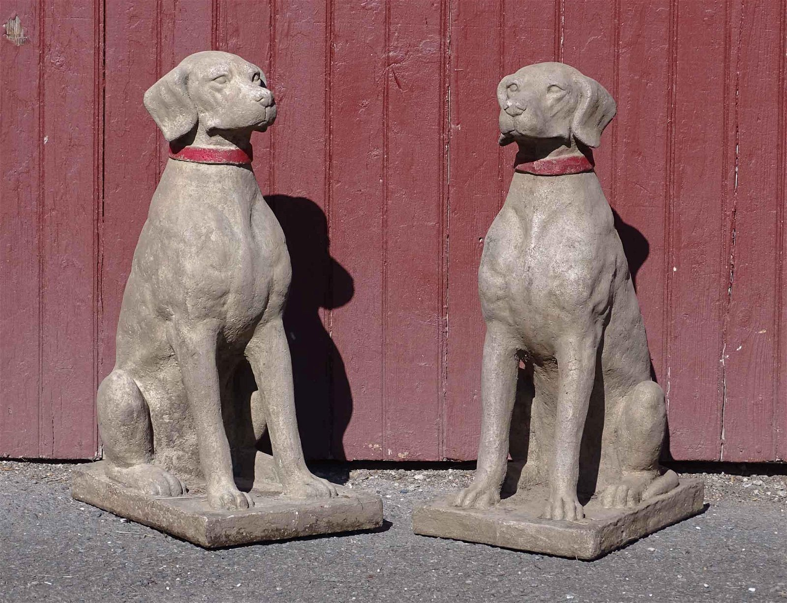 Pair Composition Dog Statues