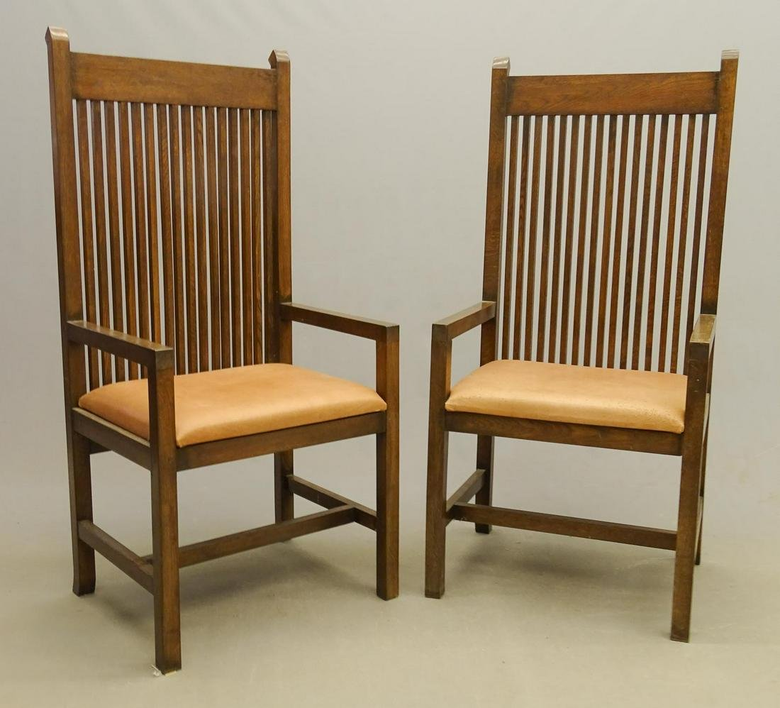 Pair Arts & Crafts Style Armchairs