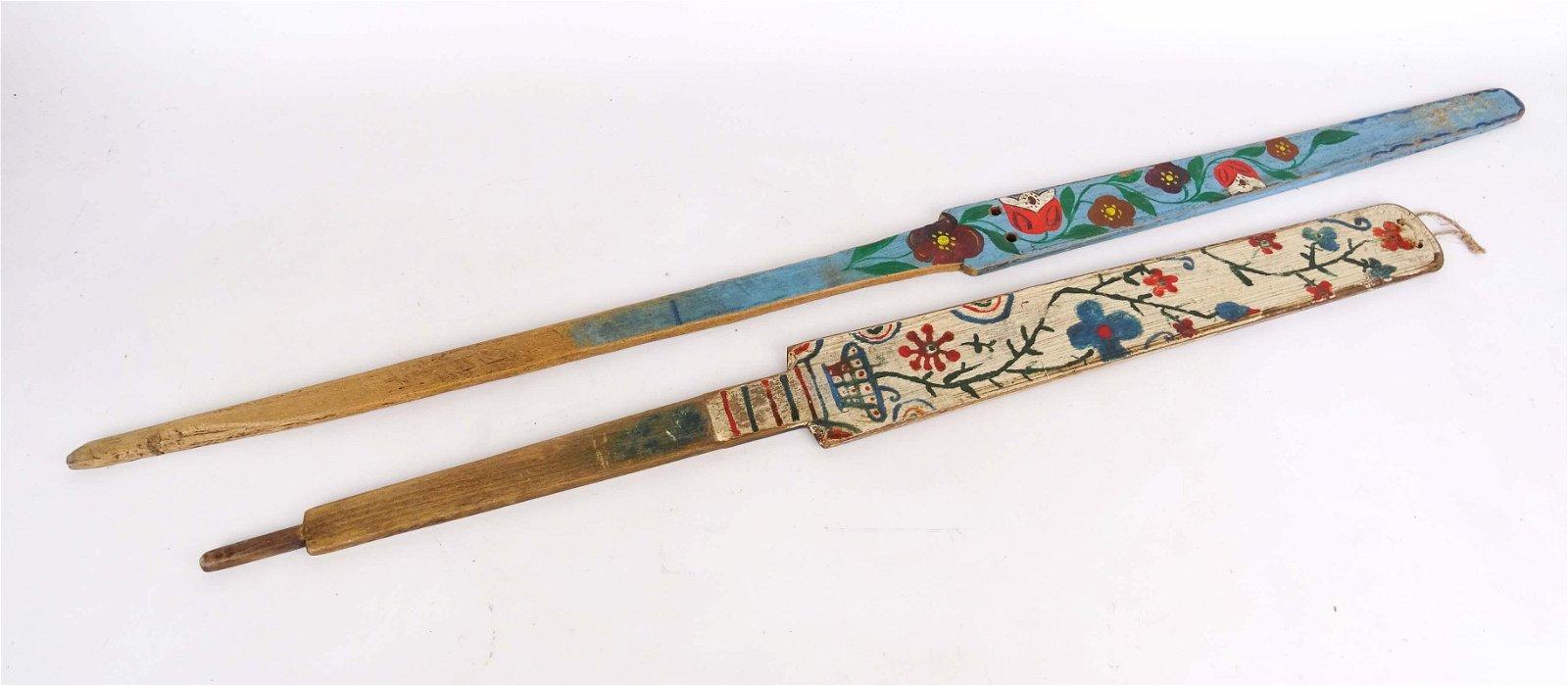 Folk Art Painted Distaffs