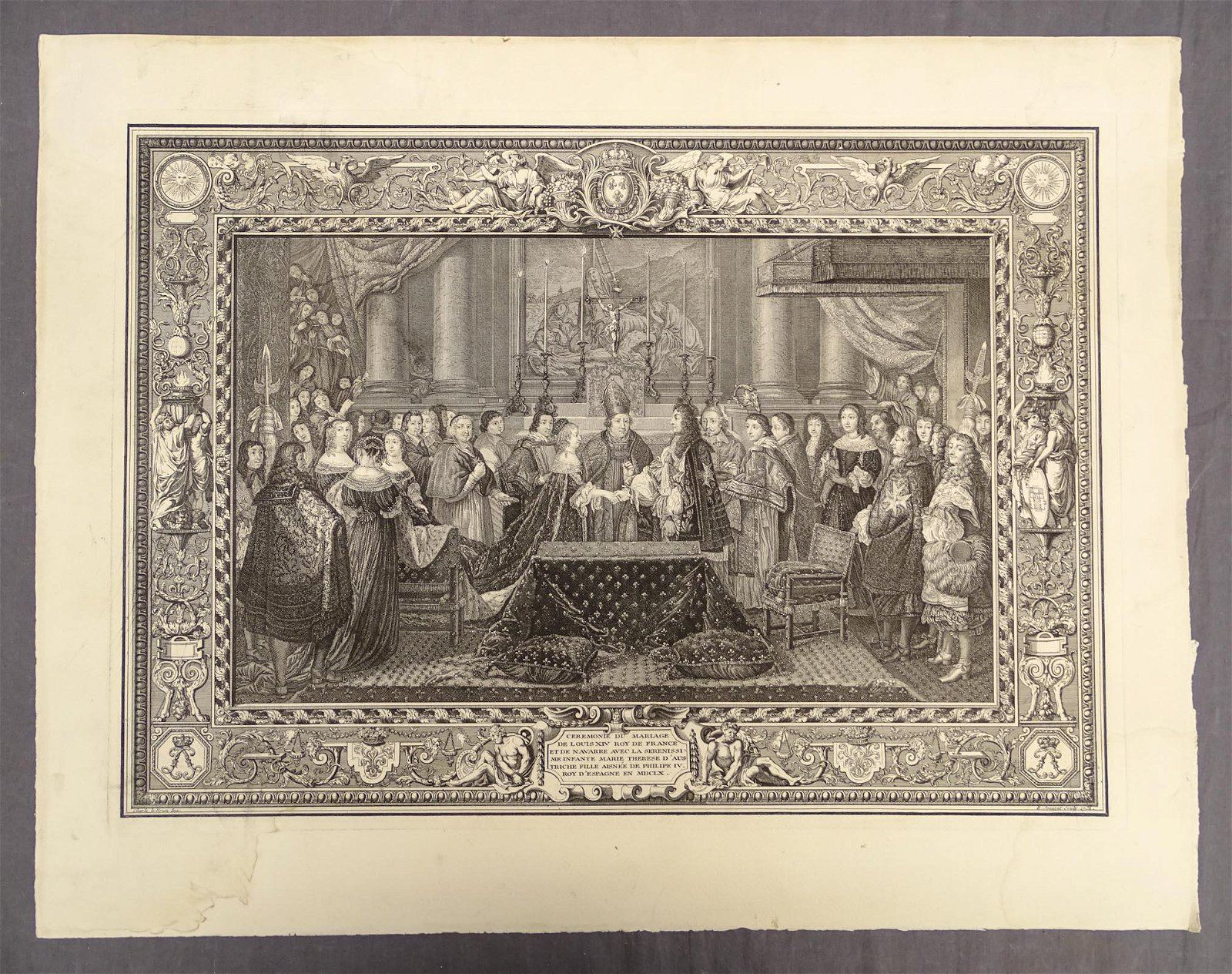 French Royal Marriage Antique Print