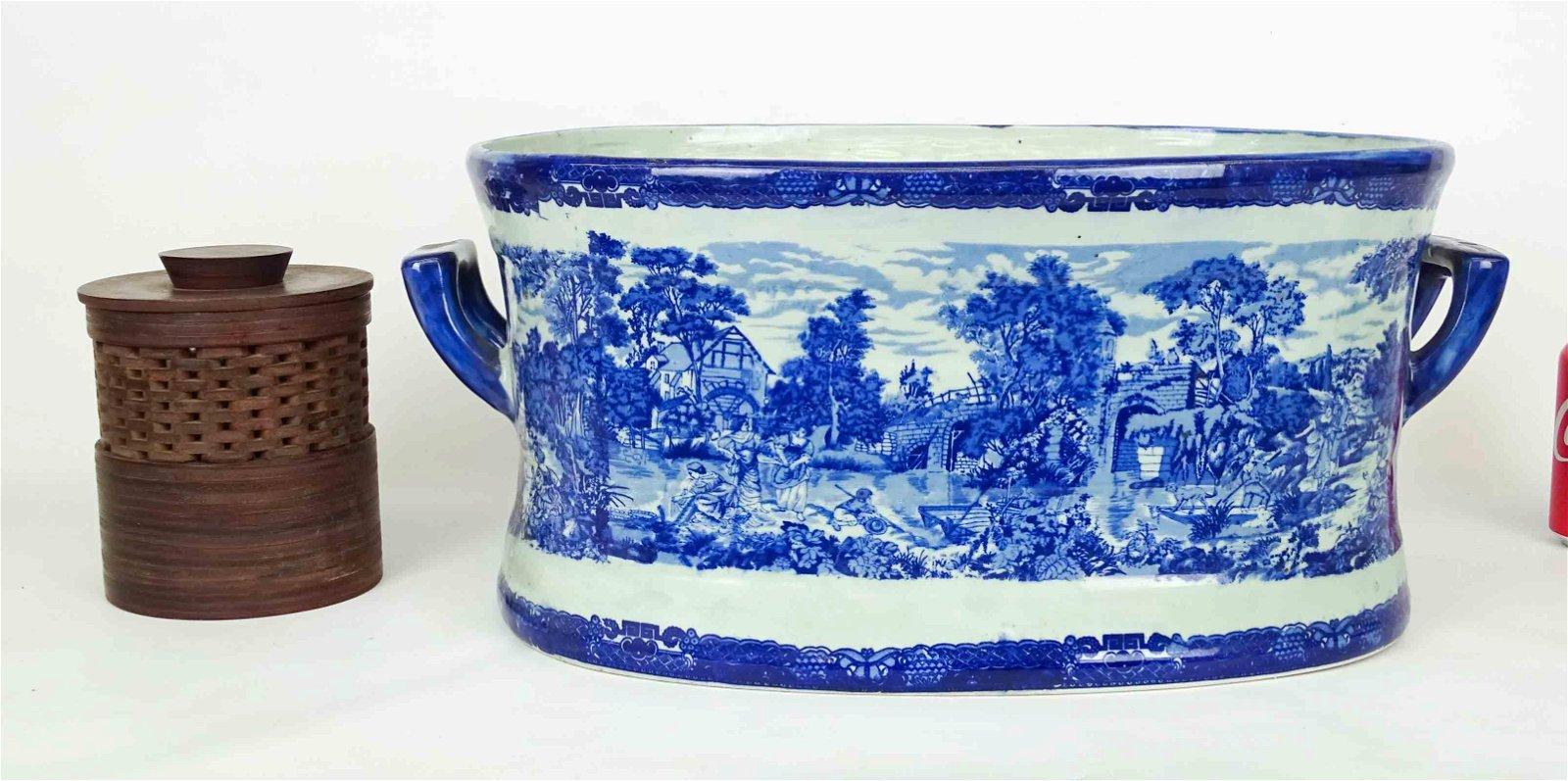 Asian Brush Pot & Large Bowl