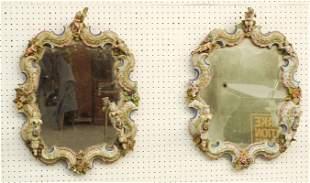 Pair German Porcelain Mirrors