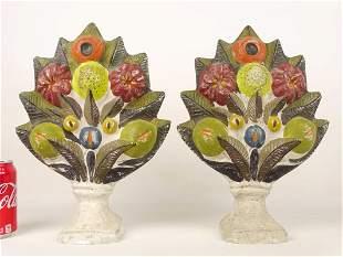 Pair 19th c. Chalkware Fruit Garnitures