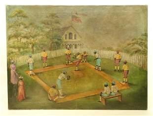 Folk Art Painting, Baseball Subject