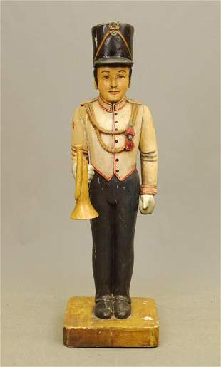Toy Soldier With Bugle Wooden Figure