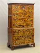 18th c. Chippendale Rosewood Grained Chest