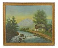 American School 19th c Primitive Landscape