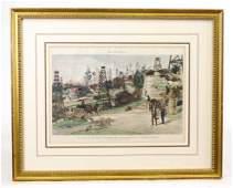 Los Angeles Oil Wells Antique Print