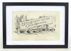 Illustration Art Drawing of Old London Bridge