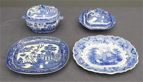 19th c. Blue & White China Lot