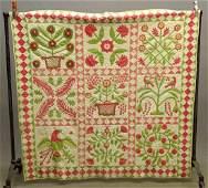 19th c. Floral Applique Quilt
