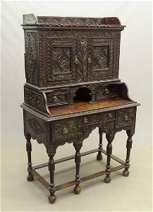 Early English Jacobean Carved Desk