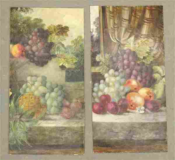 Fruit Still Life Antique Painting Pair