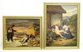Pair Continental School Soldier Paintings