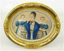 19th c. Watercolor of Mother and Children