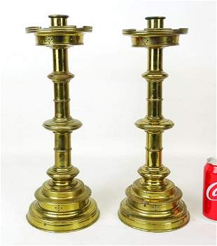 Pair of Gothic Revival Brass Candlesticks