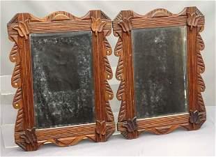 Pair 19th c. Folk Art Frames with Mirrors