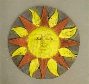 Plaster Sun Wall Plaque
