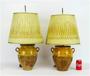 Pair French Faience Pot Lamps