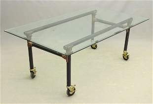 Glass Top Rolling Table