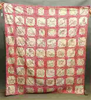 Red and White Embroidered Quilt