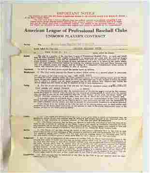 Copy of Babe Ruths Baseball Contract