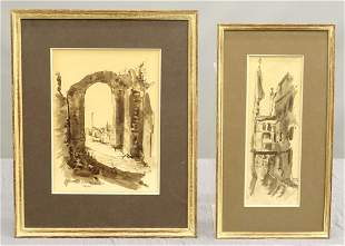 2 Drawings Italian Views by Betty Guy