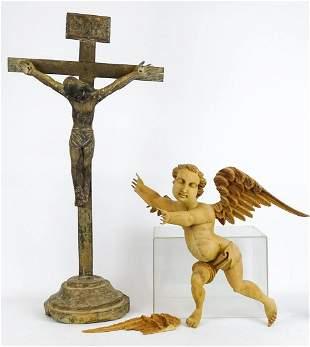 Carved Crucifix Lot