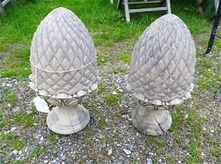 Pair Wooden Pineapple Finials