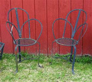 Pair Wrought Iron Patio Chairs