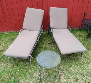 Pair of Aluminum Chaise Lounges