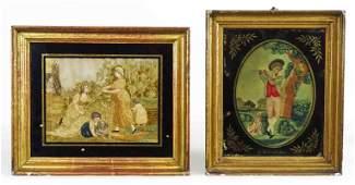 Antique Framed Silk Needlework Bucolic (2)