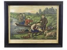 "19th c. Print ""AMERICAN HUNTING SCENE"""
