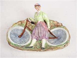 Ceramic Tray Female Cyclist with Safety Bicycle