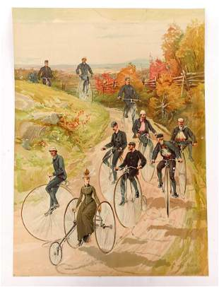 19th c. Lithograph with High Wheels & Tricycles