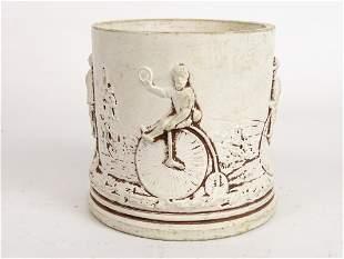 C. 1885 Ceramic Jar with High Wheels