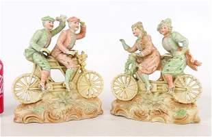 Pair Porcelain Bicycle Figurines