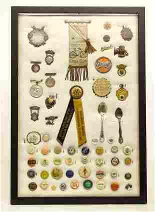 Framed Pinbacks, Souvenir Spoons, Ribbons