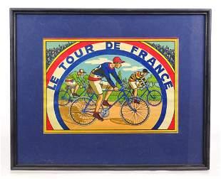 Original Le Tour De France Framed Lithograph
