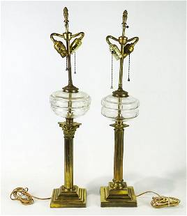 Pair Brass Column Lamps