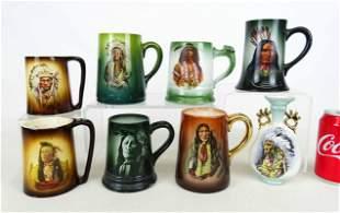Native American Portrait Mugs Lot