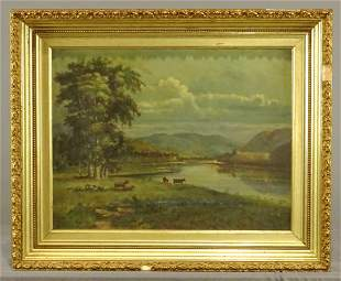 Painting, 19th c. Landscape with Cows