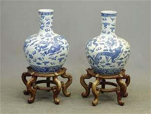 Pair Chinese Ceramic Vases on Stands