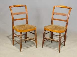 Pair 19th c. Sheraton Chairs