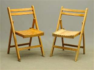 Pair Mid Century Folding Chairs