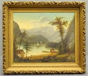 Painting, 19th c. River Landscape