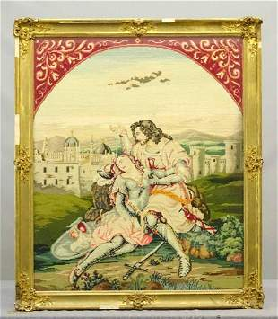 19th c. Continental Framed Needlepoint