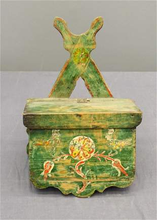 19th c. Paint Decorated Candle Box
