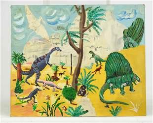 Dinosaur Folk Art Painting
